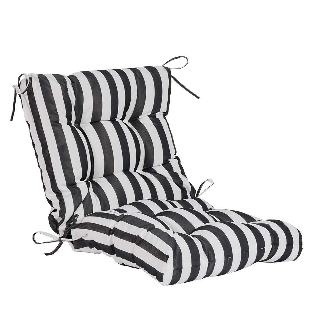 QILLOWAY Outdoor Seat/Back Chair Cushion Tufted Pillow, Spring/Summer Seasonal Replacement Cushions. (White&Black Stripe)
