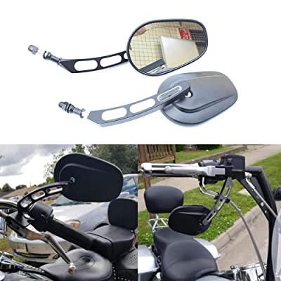 Motorcycle 8mm Oval Metal Rearview Side Mirror for Harley Davidson Cruiser Choppers Touring Bike(Black with 3 hole): Automotive