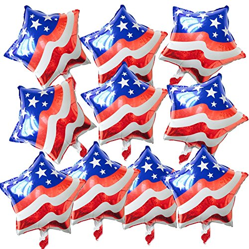 - 10pcs Red White and Blue USA Flag Foil Balloon Star Shaped Mylar Balloons for Independence Day Party Favours