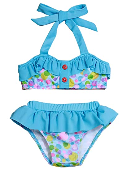 007448155a696 Toddler Baby Girl Swimsuits Dot Bikini Beach Ruffles Halter Bathing Suit  Two-Piece Swimwear Set