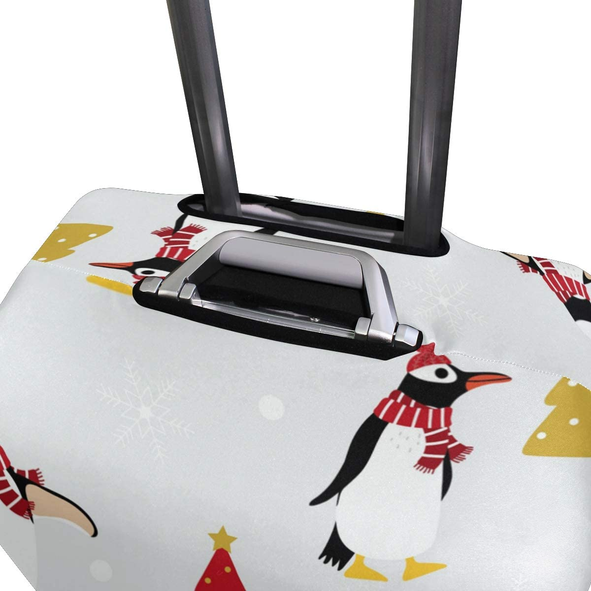 FOLPPLY Winter Scarf Hat Penguin Pattern Luggage Cover Baggage Suitcase Travel Protector Fit for 18-32 Inch