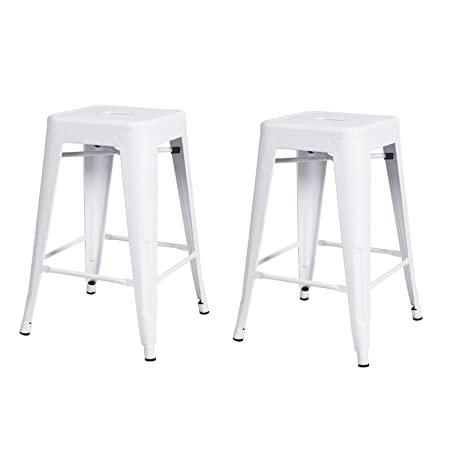 DecentHome Metal Stackable 24-in Backless Tolix Style Bar Stools Indoor-Outdoor Counter Height Stool with Square Seat Glossy White Set of 2