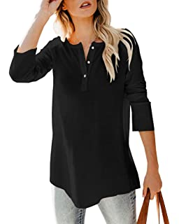 Womens Casual V Neck Long Sleeve Solid Color Knit Pullover Sweatsuit 2 Piece Short Henley Sweater Outfits Sets