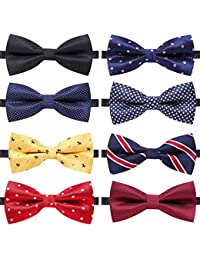 b0e5953ed913 8 PACKS Elegant Adjustable Pre-tied bow ties for Men Boys in Different  Colors(