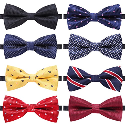 AUSKY 8 PACKS Elegant Adjustable Pre-tied bow ties for Men Boys in Different Colors (A) -