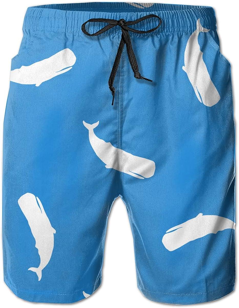 suge Whales Mens Beach Shorts Elastic Waist Swim Trunks