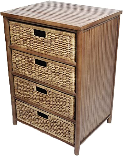 Heather Ann Creations 4-Drawer Bamboo Solid Frame Cabinet, 32-Inch, Tan and Brown