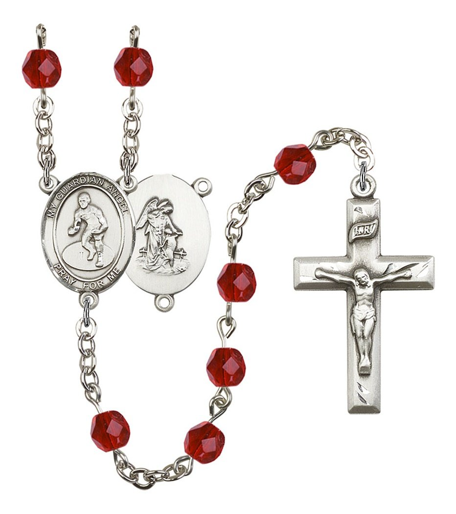 July Birth Month Prayer Bead Rosary with Guardian Angel Wrestling Centerpiece, 19 Inch