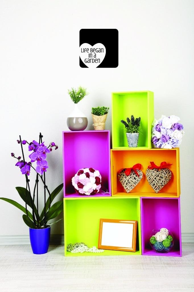 Design with Vinyl US V JER 2635 3 Top Selling Decals Life Began in A Garden Wall Art Size X 18 Inches Color 18 x 18, Black