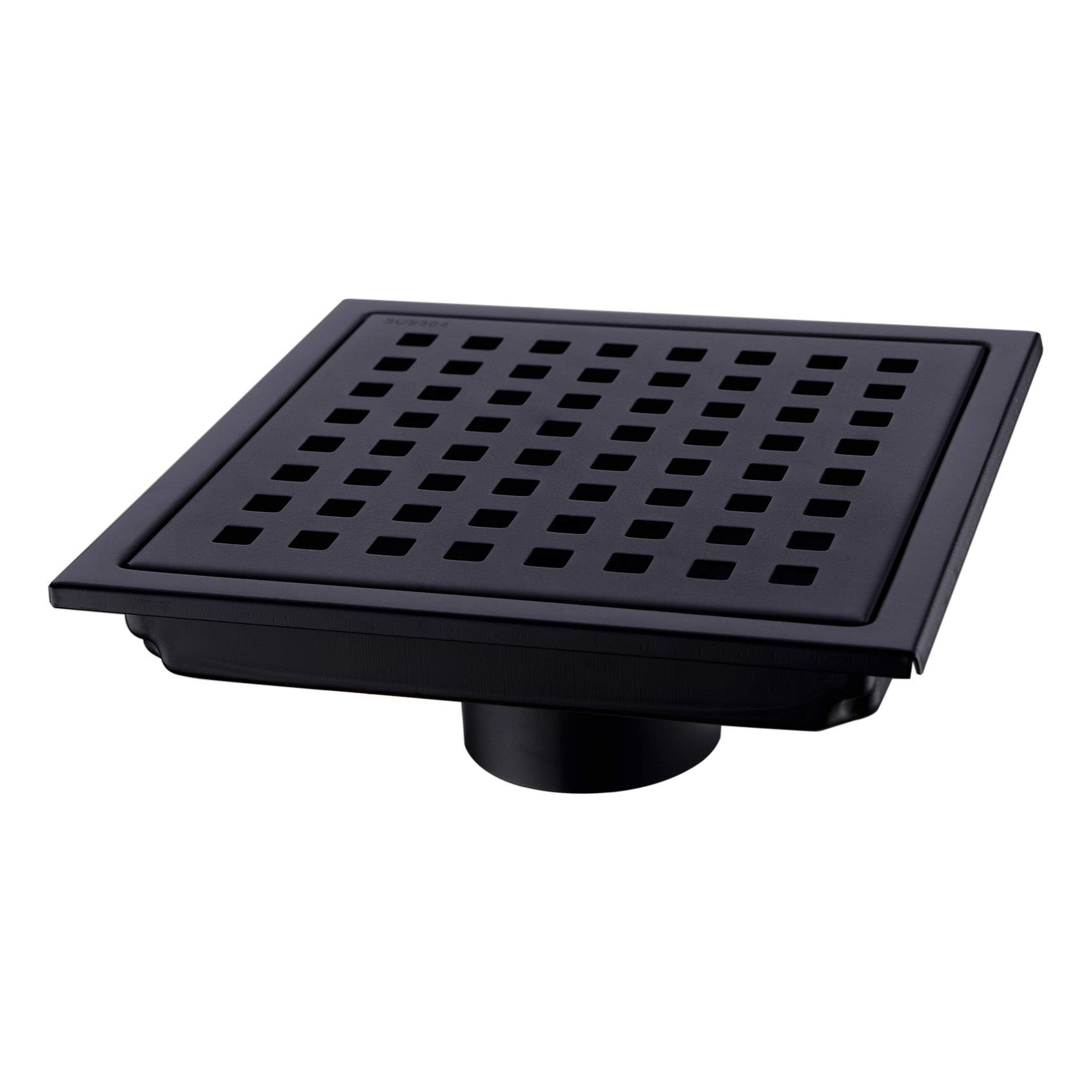 Orhemus Square Shower Floor Drain with Removable Cover Grid Grate 6 inch Long, SUS 304 Stainless Steel Black Plated Finish by Orhemus