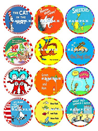 DR SEUSS : edible cupcake topper birthday image decor frosting party decoration sheet premium - Dr Seuss Cake