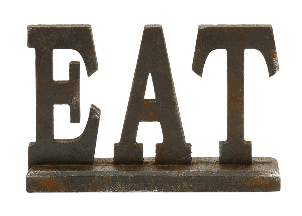 "Deco 79 97296 Wood Eat Decorative Sign, 12"" x 8"""