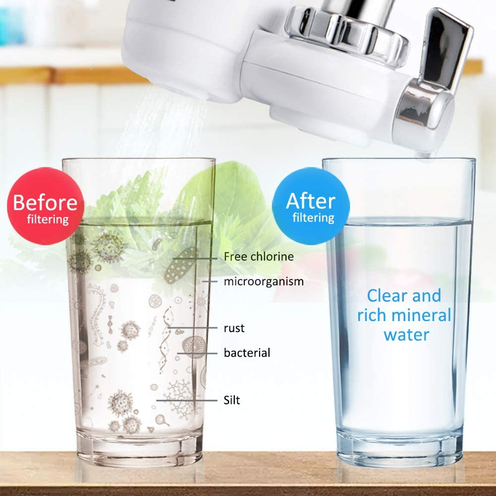 GESECRET Faucet Water Filter,Removal Replacement Filter Tap Water Purifier Clean Kitchen Faucet Washable Ceramic Percolator Water Filter Filtro Rust Bacteria