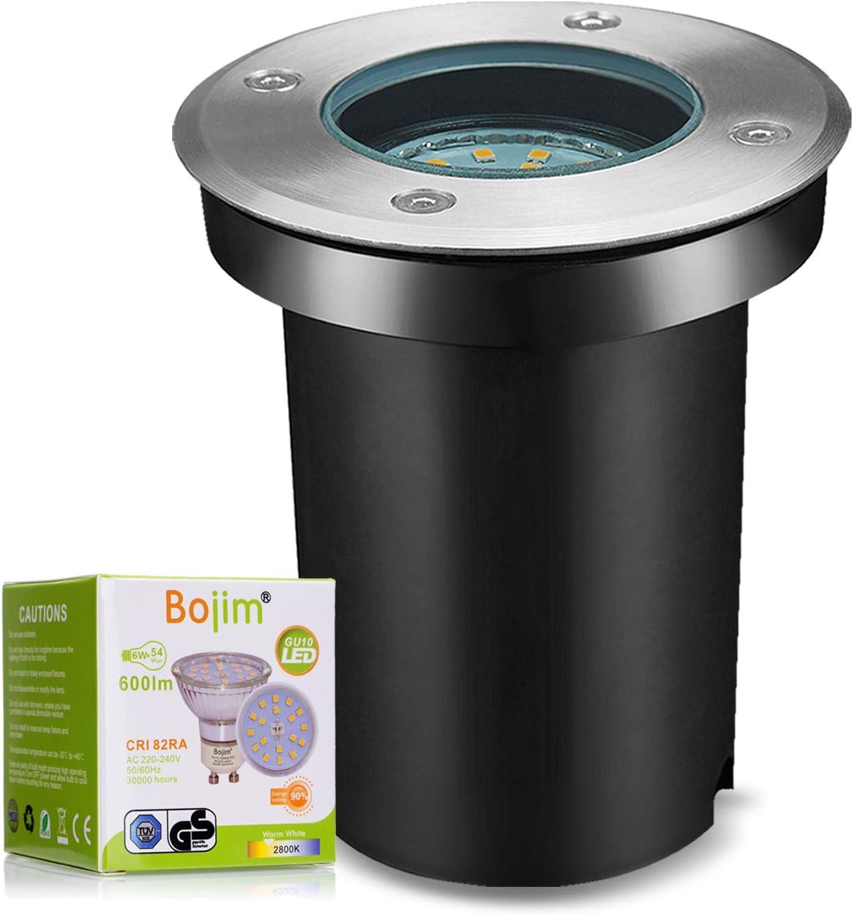 Bojim Foco Empotrable LED Redondo IP67, con 1x 6W GU10 Luz Blanca Cálida 2800K, Downlight IP67 Resistente al Agua, Foco para Suelo Exterior de Acero Inoxidable, Iluminación de Terrazas Árboles Caminos