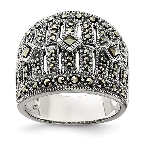 925 Sterling Silver Marcasite Band Ring Size 6.00 Fine Jewelry Gifts For Women For Her