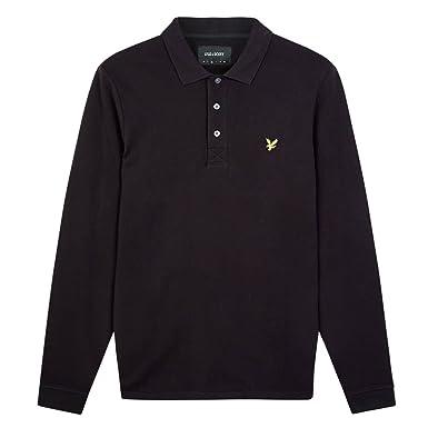Lyle & Scott Long Sleeve Polo, Negro (True Black), Small para ...