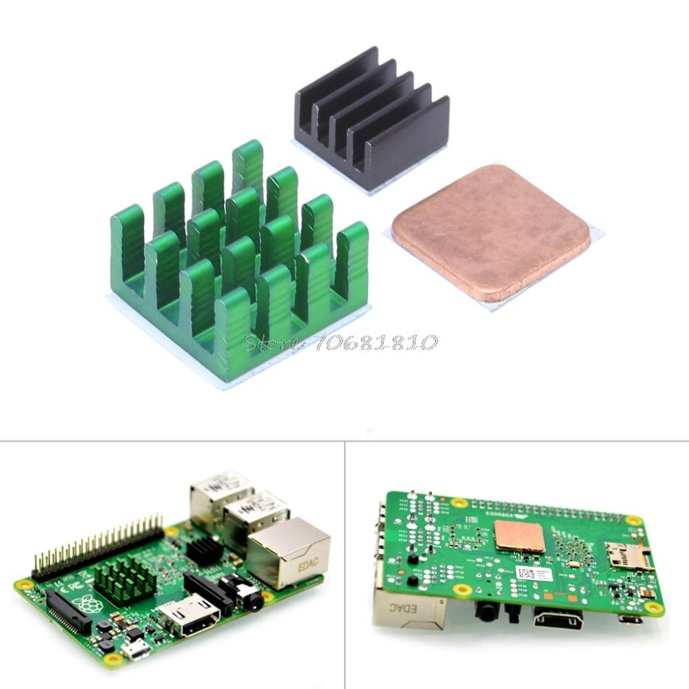 SAUJNN for Pi 3 Model B Aluminum Heat Sink Bracket Pi RPI Sink Cooling CPU Copper Heat Sink 2