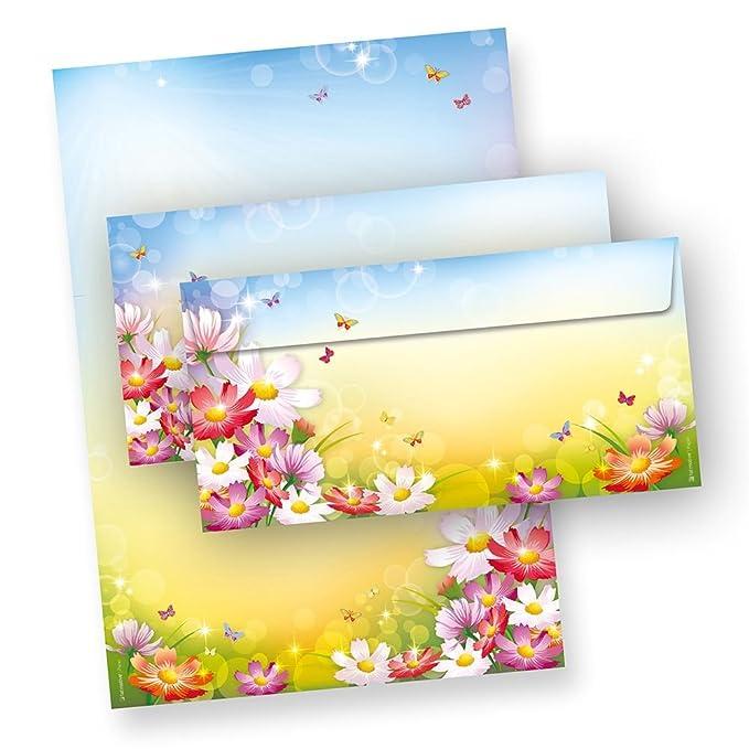 Briefpapier Set Mix Blumen 6 Motive je 5 Briefpapiere und je 5 Umschläge