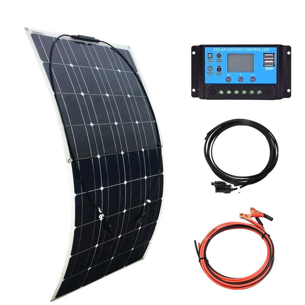XINPUGUANG 100w 12v Kit de panel solar flexible Módulo monocristalino 10A Regulador solar para autocaravana, caravana, barco, automóvil, carga de energía de batería de 12v