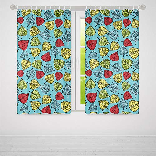 (Window Curtains Blackout,Nature,Window Drapes 2 Panel Set for Living Room Bedroom,Colorful Hand Drawn Falling Leaves Blue Background Autumn Forest Trees Theme Artwork2 Panel Set,103W X 83L Inches )