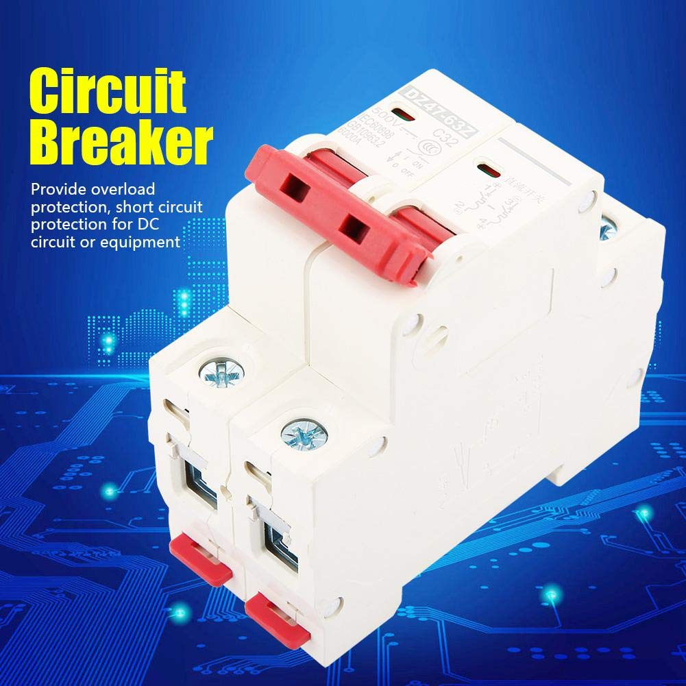 2P DC 500V 32A Mini disyuntor MCB Disyuntor de seguridad DZ47-63Z-2P Protector de voltaje Protecci/ón contra fugas Interruptor de aire