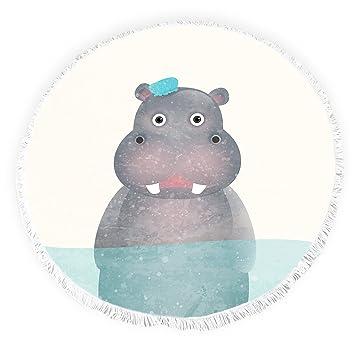 Yun Nist Toallas de Playa Redondas con borlas de Dibujos Animados Divertidas hipopótamos Círculo Grueso Gitano Alfombra de Picnic Yoga Alfombra: Amazon.es: ...