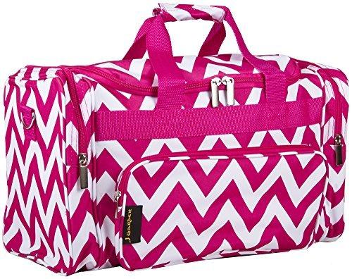 J Garden Pink Chevron Travel Duffel Bag (Cute Duffel Bags)