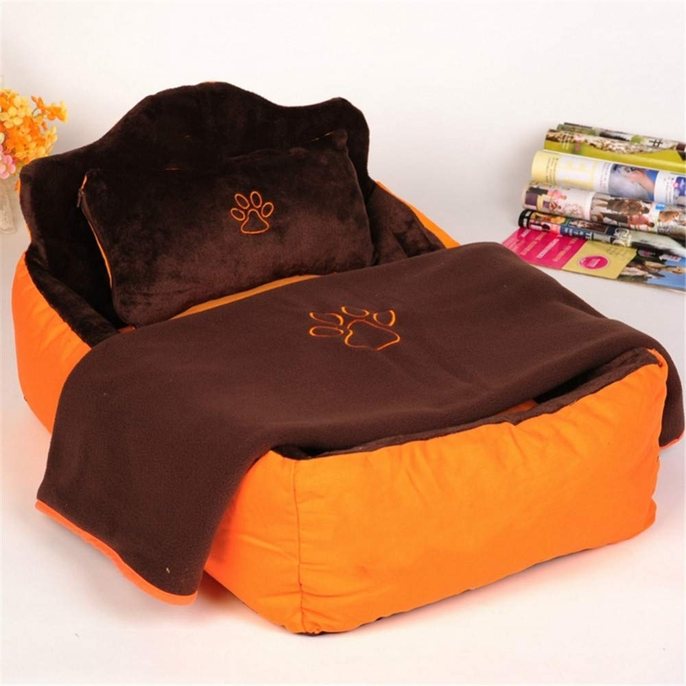 L Wuwenw Completely Removable & Washable 3Pcs Pet Cat Dog Bed With Double Sided Cushion,Soft Pillow & Blanket Pet House Gift,L