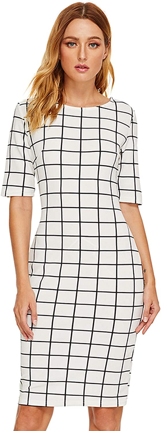 SheIn Women's Short Sleeve Plaid Grid Round Neck Elegant Sheath Pencil Bodycon Dress