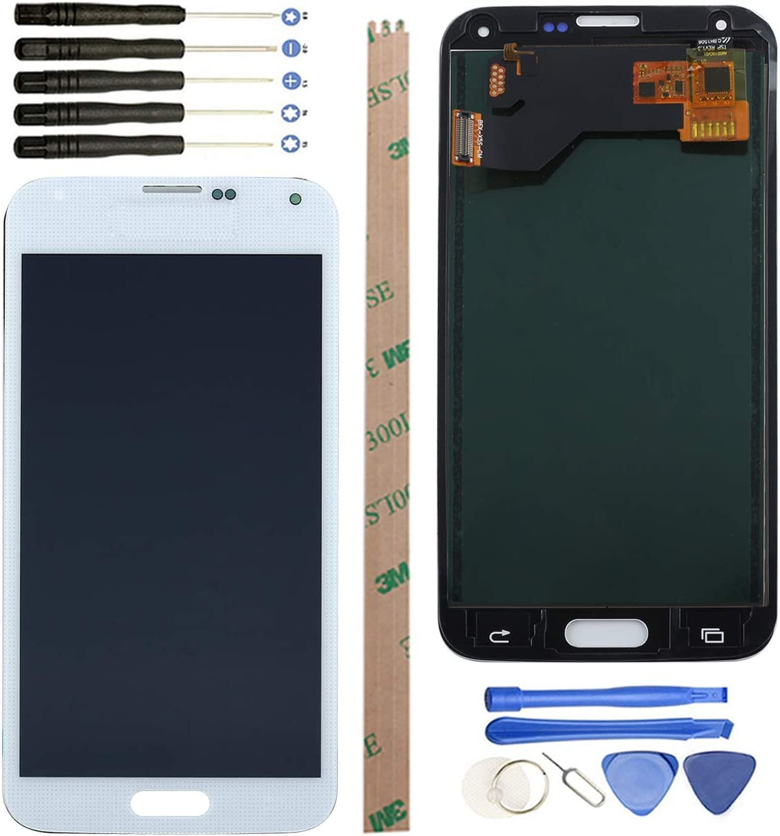 YHX-US Replacement LCD Display for Samsung Galaxy S5 I9600 SM-G900 G900A G900T G900V G900P Digitizer Screen and Touch Screen +A Set of Tools (White)