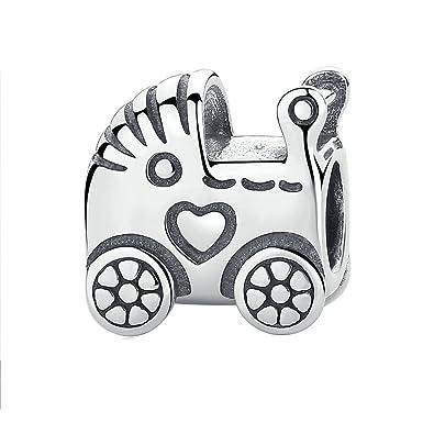 Lily Jewelry Carro de bebé 925 plata grano Fits Pandora Europea pulsera: Amazon.es: Joyería