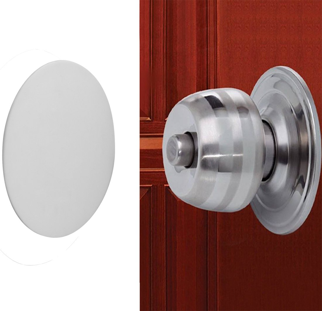 Door Knob Wall Shield , White Round Soft Rubber Wall Protector Self Adhesive Door Handle Bumper Pack of 2 (Large Round Style 3.54'', White)