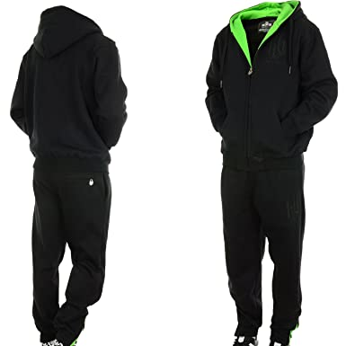 echte Qualität Gutscheincode anders Hoodboyz Contrast Jogginganzug Schwarz Neon Grün