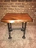 Industrial Pipe and Wood End Table Live Edge Rustic Vintage (Honey Pine)