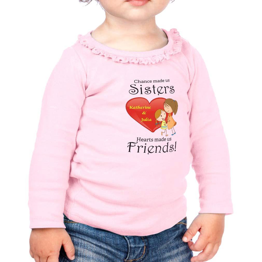 Custom Made Sister Heart Friends Cotton Toddler Long Sleeve Ruffle Shirt Top