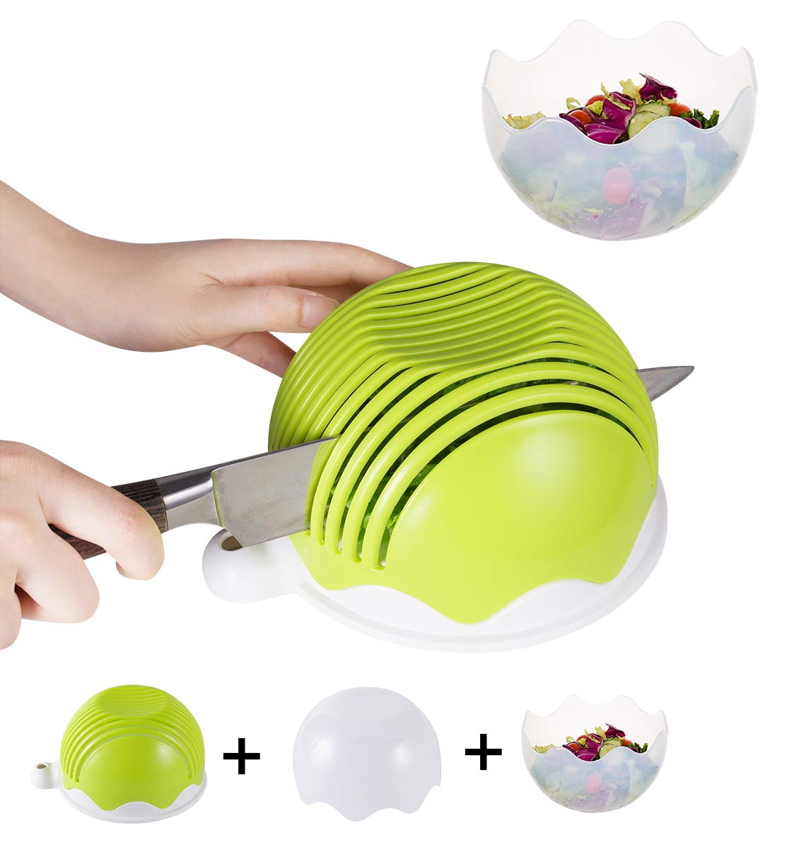 Salad Cutter Bowl and Salad Bowl, Raking 60seconds Salad Maker Set – Big Size