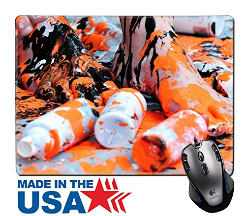 "MSD Natural Rubber Mouse Pad/Mat with Stitched Edges 9.8"" x 7.9"" legs painted with black and orange color IMAGE - Leg Emulsion"