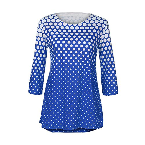 Col T Sunenjoy Tops Polka Blouses Femmes 4 Imprim Tee Rond Chemisier Dots Chemise 3 Casual Shirt Hauts Tunique lgante Bureau Manches Shirt Business Bleu Dcontract dwwqa6