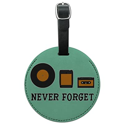 Never Forget Music Record Cassette Round Leather Luggage Card ID Tag