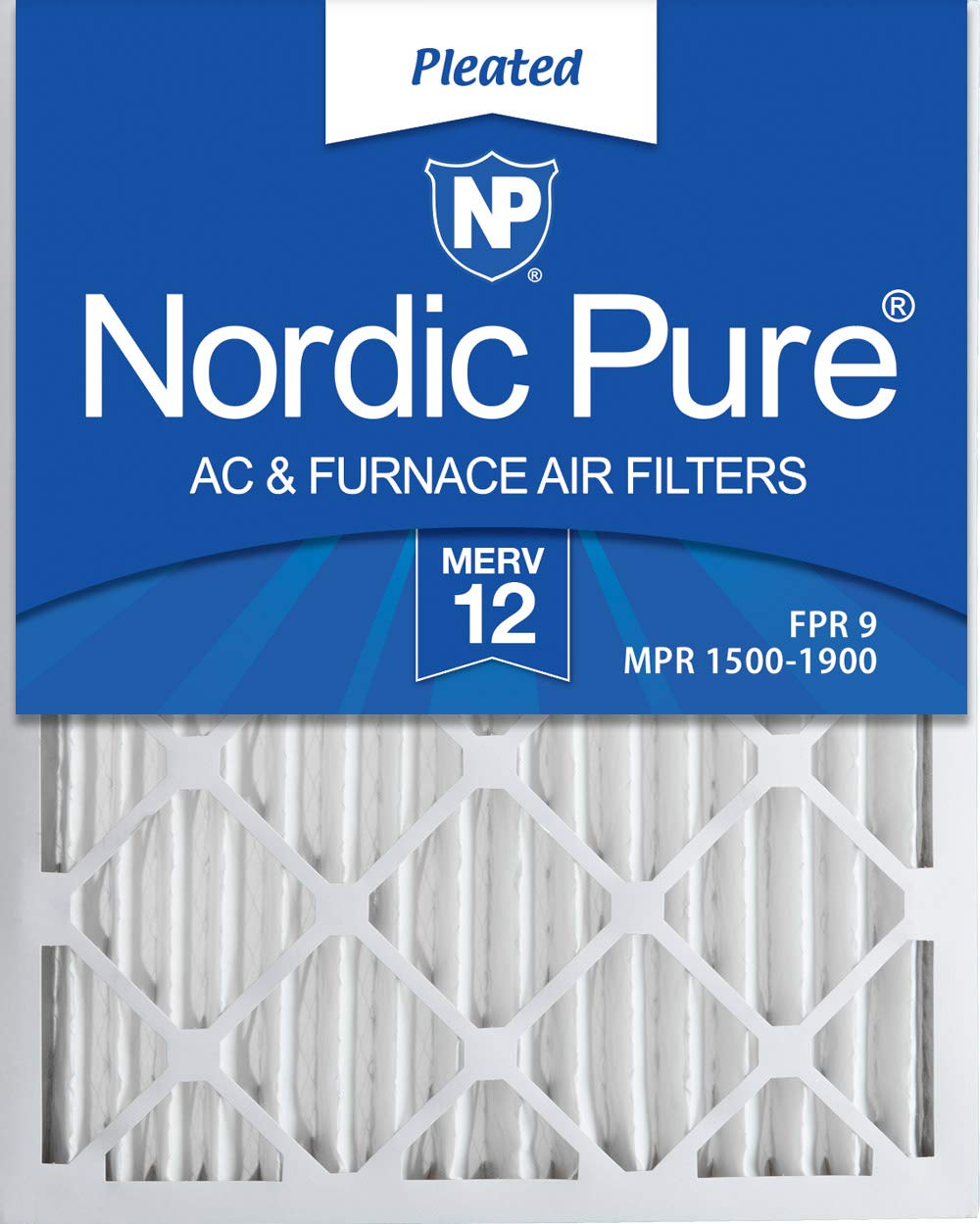Nordic Pure 16x25x2 MERV 12 Pleated AC Furnace Air Filters 3 Pack, 3 PACK, 3 PACK by Nordic Pure