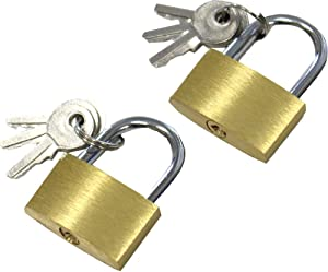 Safeguard 2 Piece Set of Small Brass Padlocks - 3 Keys Each: LOCK-27303