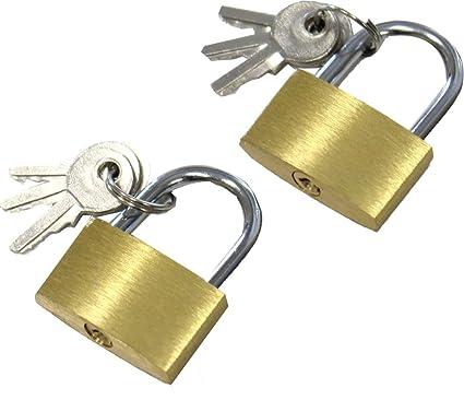 d73d19ab72d5 SAFEGUARD 2 Piece Set of Small Brass Padlocks - 3 Keys Each: LOCK-27303