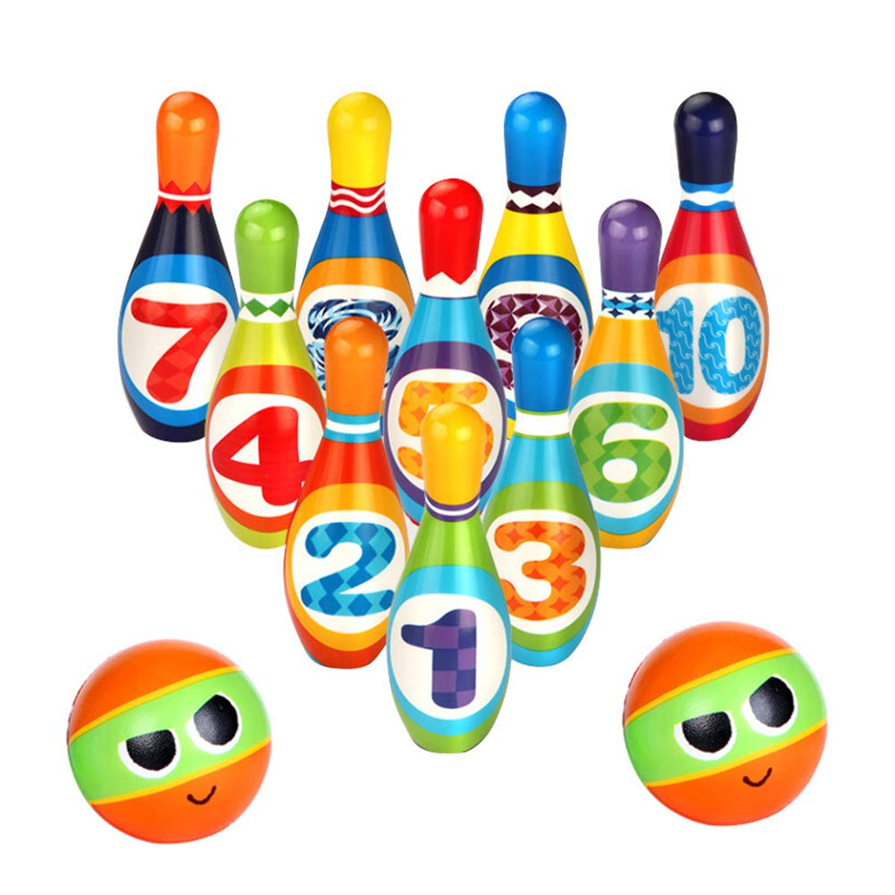 Wekity Kids Bowling Toy Set--Foam Ball Toys, 10 Pins and 2 Bowling for Toddlers Boys and Girls Indoor Outdoor Bowling Games Preschool Development Sport (Colorful) by Wekity