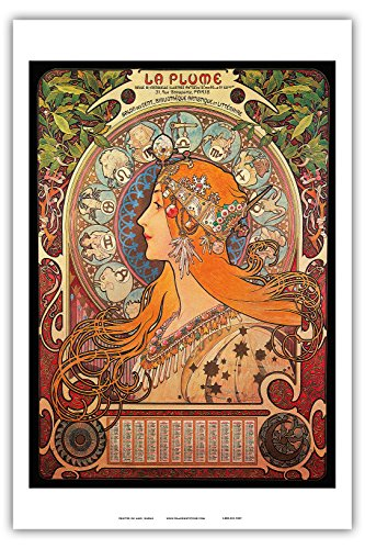 Alphonse Mucha Paintings - Pacifica Island Art - Calendar La Plume (Feather) - Vintage Advertising Poster by Alphonse Mucha ca.1897 - Master Art Print - 12in x 18in