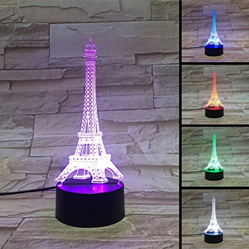 Funplaza 3D LED Eiffel Tower Button Touch Switch ABS Base