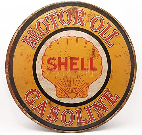 Wall Decorative Sign Embossed Round Metal Tin Sign Shell Motor Oil Gasoline Dia 15 By 66reto by 66Retro