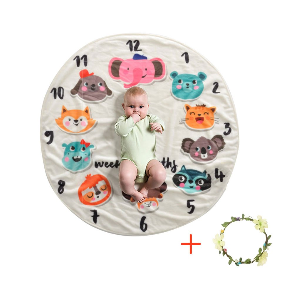 IDABAY Premium Flannel Baby Monthly Milestone Blanket Photo Prop for Newborn, Infants and Toddlers (#1)