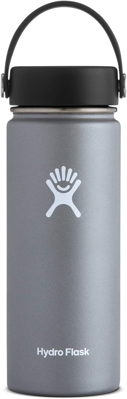 Hydro Flask Water Bottle - Stainless Steel & Vacuum Insulated - Wide Mouth with Leak Proof Flex Cap - 18 oz, Graphite
