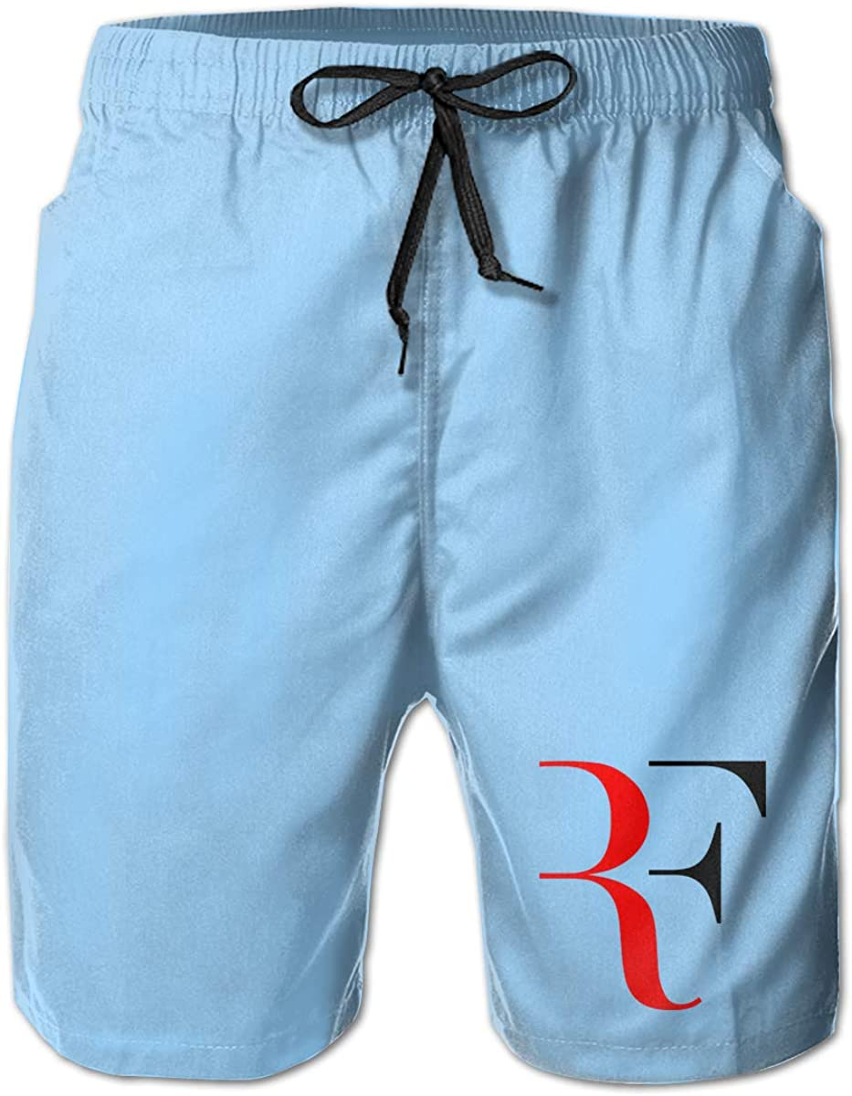 Mens Swim Trunks I Love Roger-Federer Swimming Beach Surfing Board Shorts Swimwear with Pockets