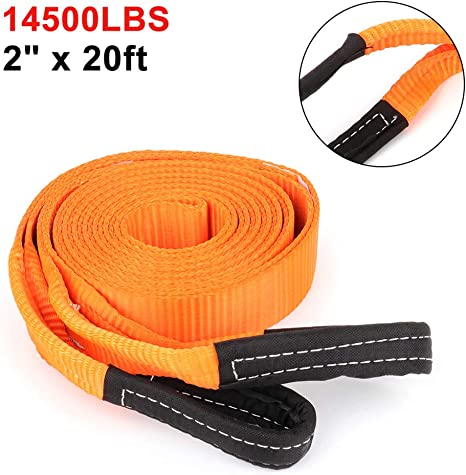 Tie Downs Winch Straps 24000 LBS Capacity Industrial-Grade Tie Down Snatch Straps with Looped End for Heavy Duty Tree Saver and Off Road Towing Recovery X 10ft 3in TUPARTS 1PCS Blue Tow Straps